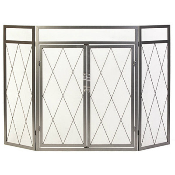 "Panacea™ 15195 Diamond Style 3-Panel Fireplace Screen, 32"" x 50"", Antique Iron"
