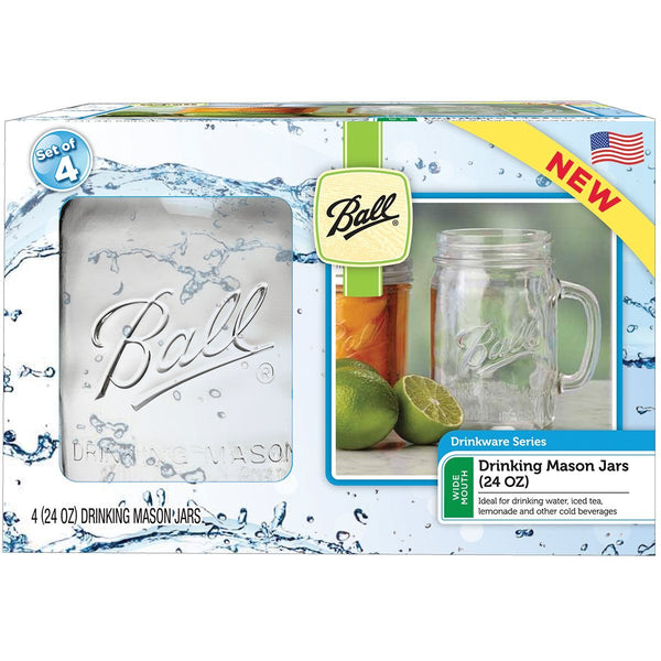 Ball 1440016011 Wide Mouth Glass Drinking Mason Jars, 24 Oz, 4-Pack