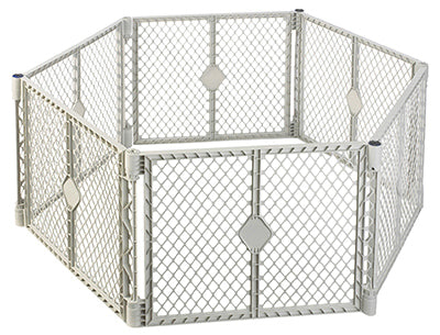North States 8668  Plastic Pet Yard, 6 Panel, Light Gray