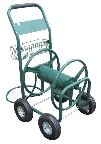 Liberty Garden 872 Four Wheel Industrial Hose Cart, Green, 4 Flat-Free Tires