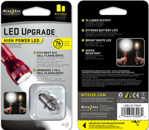 "Nite Ize® LRB2-07-PRHP High Power LED Upgrade Kit for Most ""C"" or ""D"" Cell Flashlights"