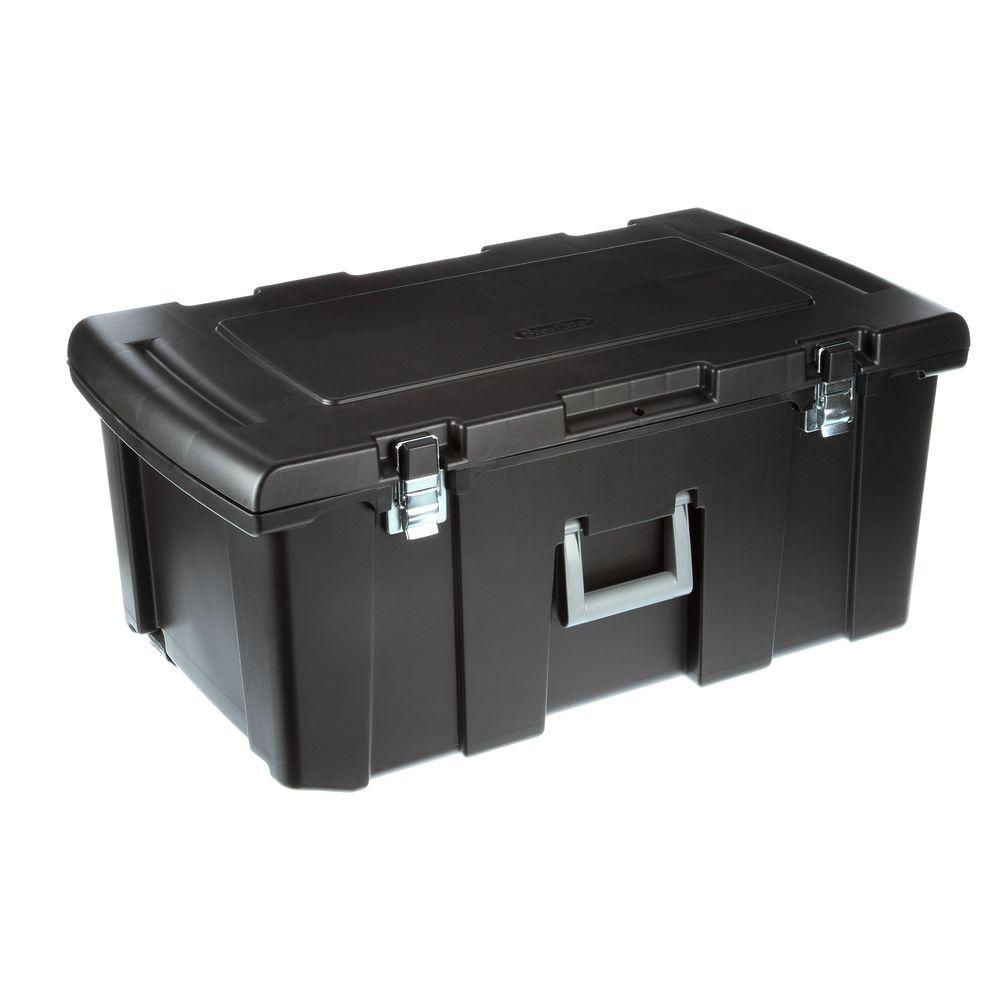 Sterilite® 18429001 Footlocker Storage Box, Black W/ Titanium Handle, 92 Qt
