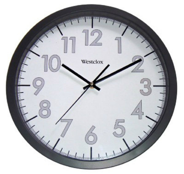 Westclox® 32067 Round Office Commercial Wall Clock, Black Case, 14""