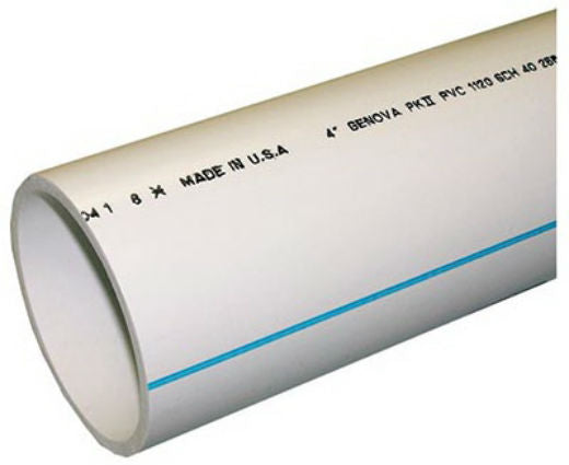 "Genova 700412F Schedule 40 Cellular Core PVC DWV Pipe, 4"" x 2'"