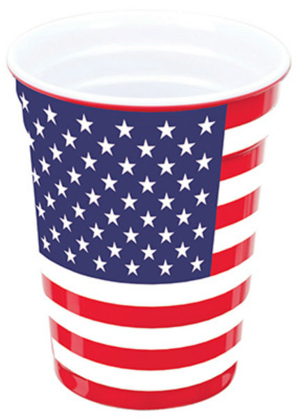Carson® 88820 American Flag Melamine Party Cup, 16 Oz
