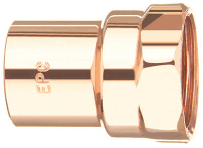 "Mueller W61531 Streamline® Wrot Copper Fitting Adapter, 1/2"" FTG x FPT"