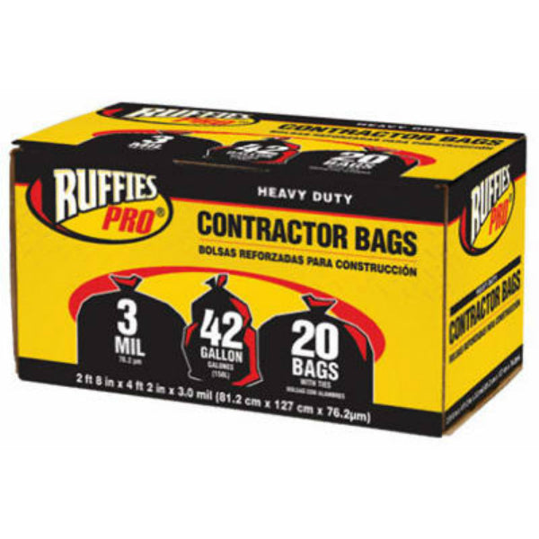 Ruffies Pro® 1190270 Heavy-Duty Contractor Bags, Black, 3-Mil, 42-Gal, 20-Ct