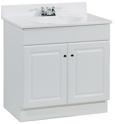 "Continental Cabinets Richmond Raised Panel Combo Vanity, 30""W, White"