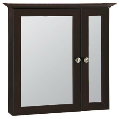 "Continental Cabinets Surface Mount Bi-View Medicine Cabinet, Java, 25"" x 8"" x 29"""