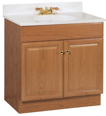 "Continental Cabinets Richmond Raised Panel Combo Vanity, 30""W, Oak"