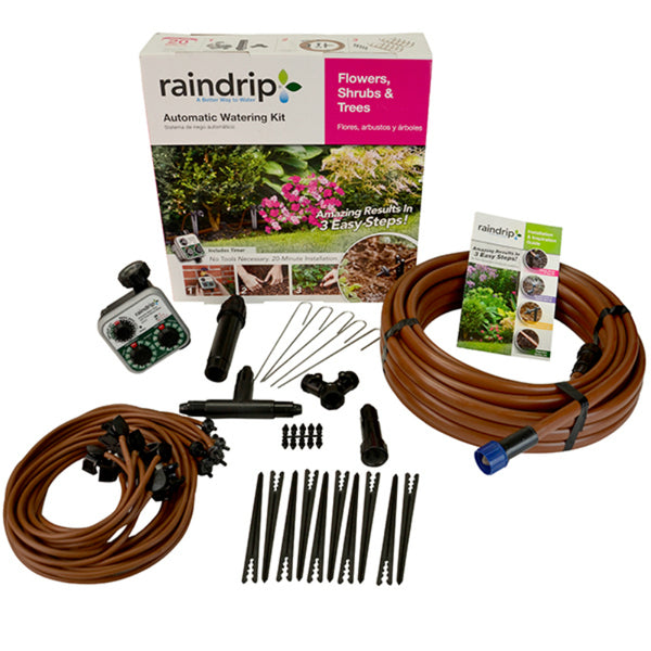 Raindrip® SDFSTH1P Flower/Shrub/Tree Automatic Watering Kit with Timer