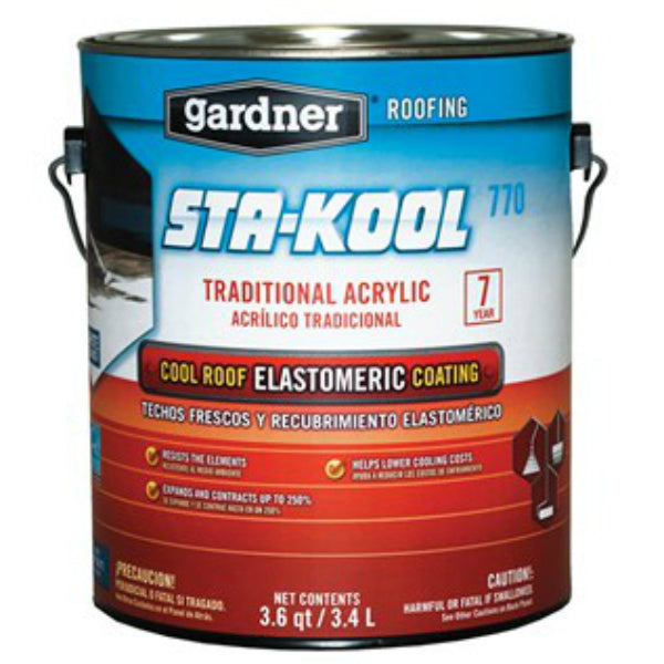 Sta-Kool® SK-7701 Traditional Acrylic Ultra White Elastomeric Roof Coating, 3.6 Qt