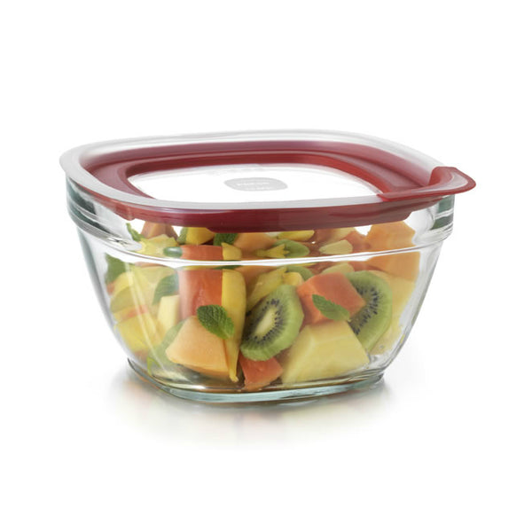 Rubbermaid® 2856007 Glass Food Storage with Easy Find Lids, 11.5 Cup, Square