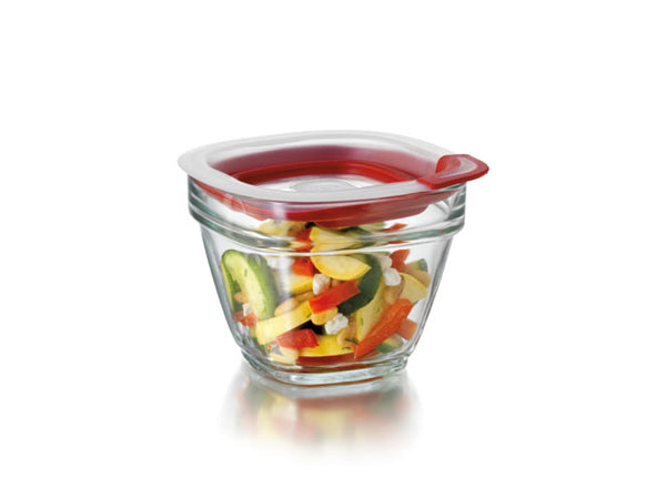Rubbermaid® 2856002 Glass Food Storage with Easy Find Lids, 1.5 Cup, Square