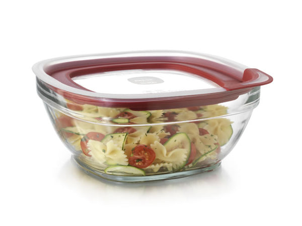 Rubbermaid® 2856006 Glass Food Storage with Easy Find Lids, 8 Cup, Square