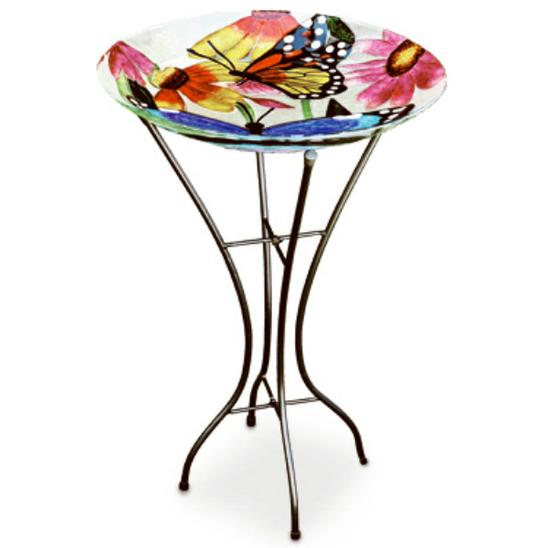 Gerson 2066210 Fused Glass Butterflies & Flowers Bird Bath, 26.5""