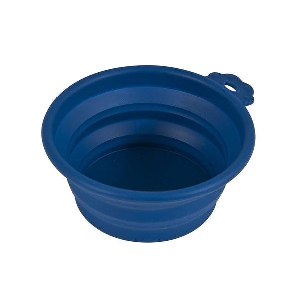 Petmate 23369 Silicone Round Travel Pet Bowl, Navy Blue, Medium