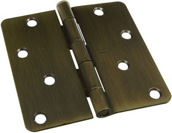 "National Hardware® N830-174 Antique Brass Door Hinge with 1/4"" Round Corner, 4"""