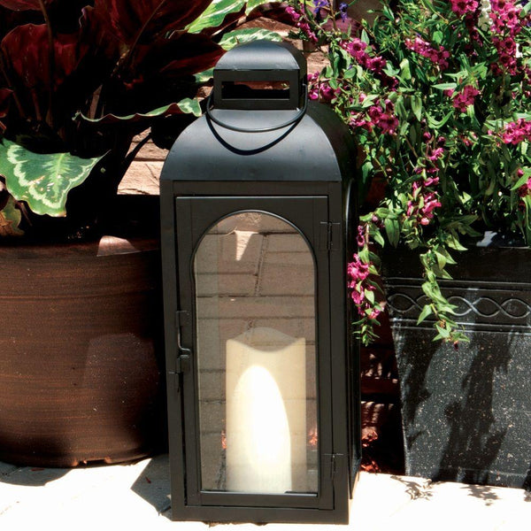 Smart Garden® HY1011M Moroccan Metal Candle Lantern with LED Light, Black, 17""