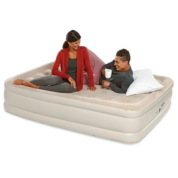 Serta® 98503114 Double High Queen Inflatable Airbed Mattress, Sueded Top, 18""