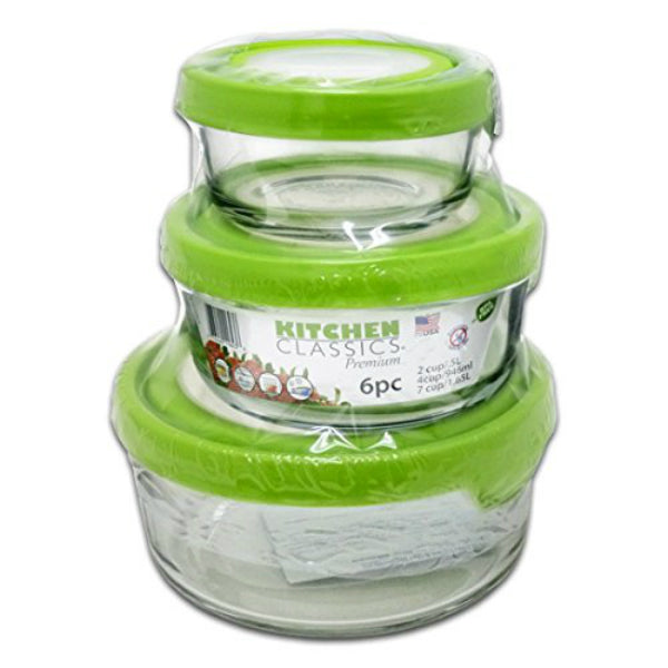 Libra 195-11623LIB Kitchen Classics Premium Round Storage Container Set, 6-Piece