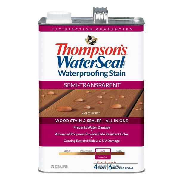 Thompson's WaterSeal 042841-16 Waterproofing Stain, Semi-Transparent, Acorn Brown