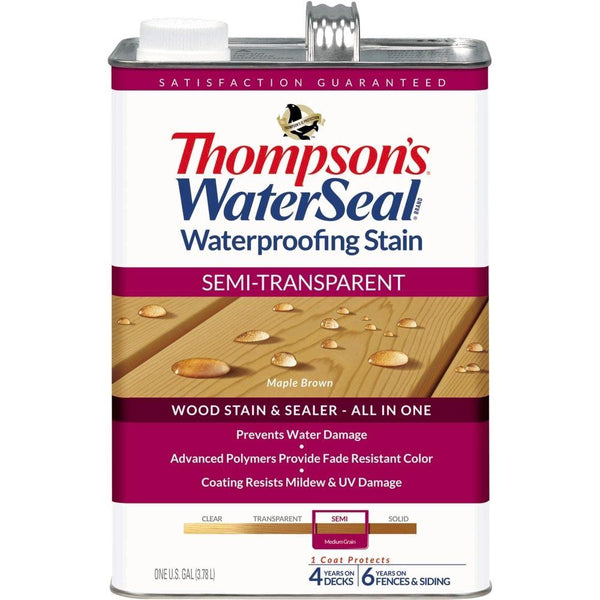 Thompson's WaterSeal 042821-16 Waterproofing Stain, Semi-Transparent, Maple Brown