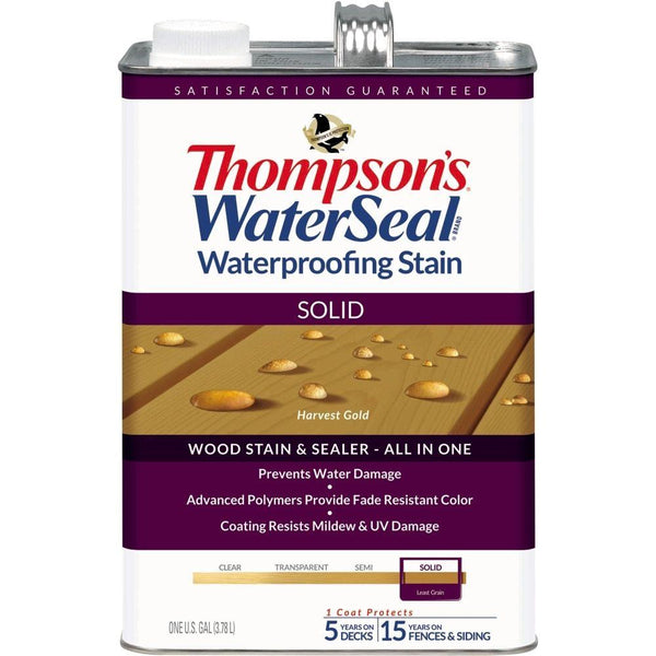 Thompson's® WaterSeal® 043811-16 Waterproofing Stain, Solid, Harvest Gold, 1-Gal