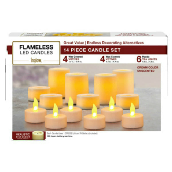 Inglow® CG201402 Variety Flameless LED Candle Set, Cream, Unscented, 14-Piece