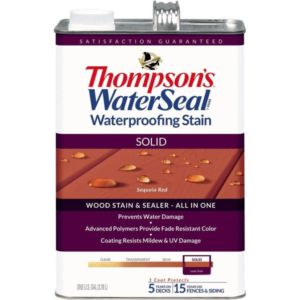 Thompson's® WaterSeal® 043831-16 Waterproofing Stain, Solid, Sequoia Red, 1-Gal