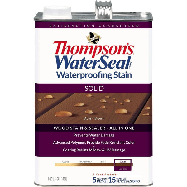 Thompson's® WaterSeal® 043841-16 Waterproofing Stain, Solid, Acorn Brown, 1-Gal
