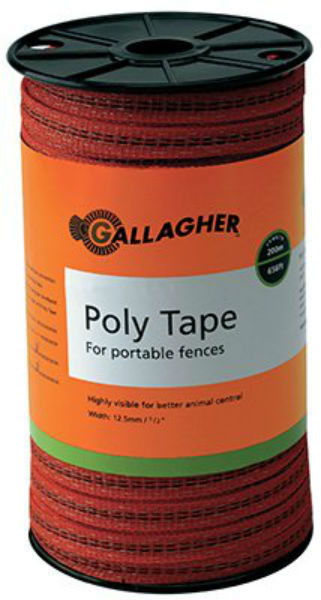 Gallagher™ G62314 Poly Tape for Portable Electric Fences, Orange, 656'