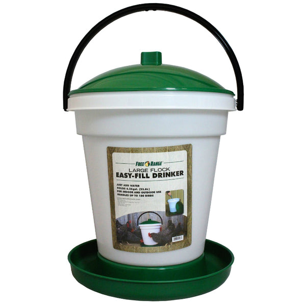 Free Range 4234 Large Flock Easy-Fill Drinker, Upto 100 Birds, 6.25-Gallon