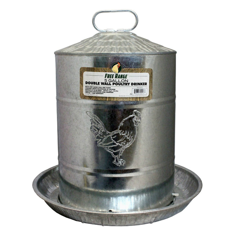 Free Range™ 4213 Double Wall Poultry Drinker, 5-Gallon, Galvanized Steel