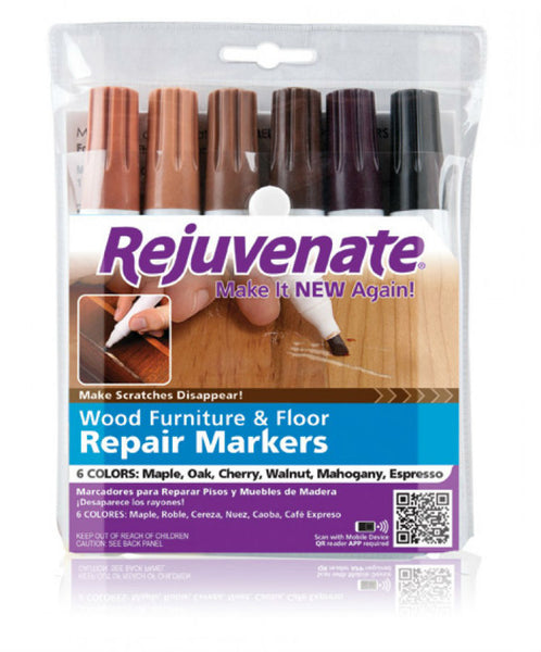 Rejuvenate® RJ6WM Wood Furniture & Floor Repair Markers, 6-Count
