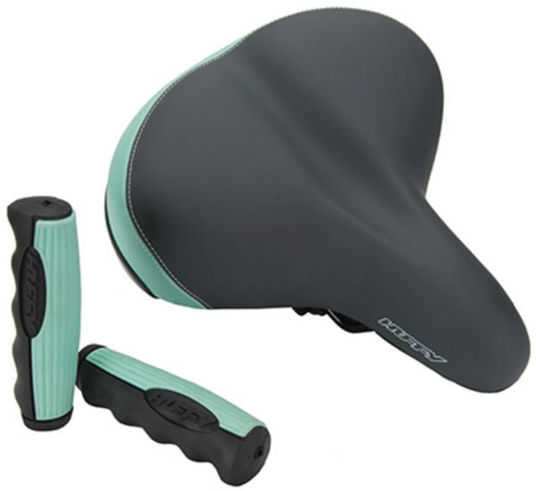 Huffy 00397XX Cruiser Saddle with Bonus Grips, Black & Green