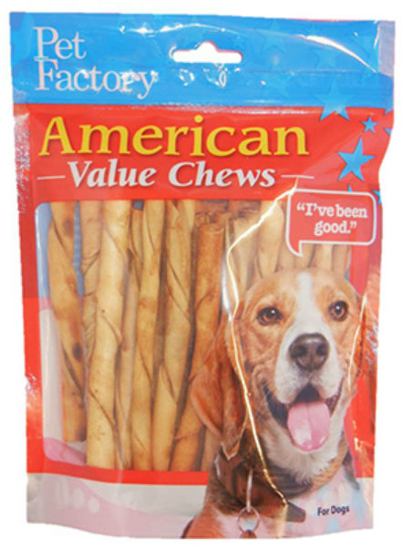 Pet Factory 28754 American Beefhide Chicken Flavored Twist Sticks, 25-Pack