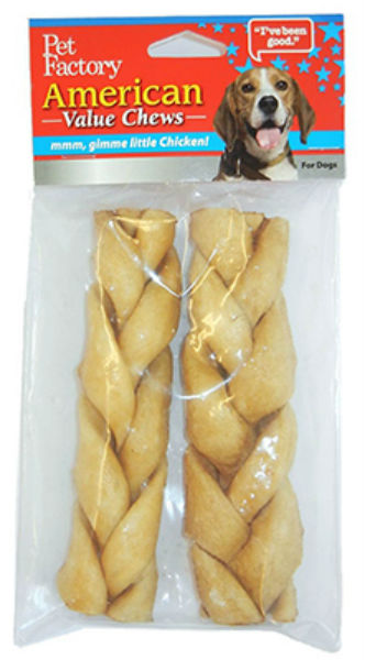 "Pet Factory 24756 American Beefhide Chicken Flavor Braided Stick, 6""-7"", 2-Pack"