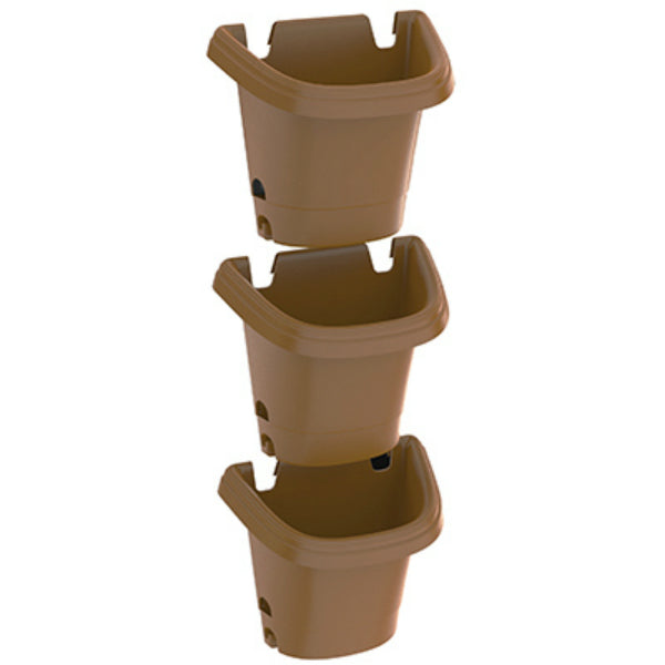 Fiskars Pottery 482125-1001 Hanging Garden Planter System, Chocolate, 3-Piece