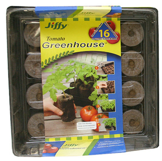 "Jiffy® J616 Peat Pellet Tomato Greenhouse, 11"" x 11"", 16-Count"