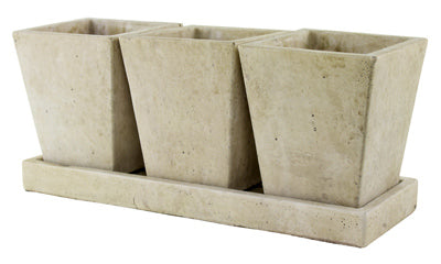 Syndicate Sales 7909-02-901 Trio Garden Planter with Tray, Weathered Slate
