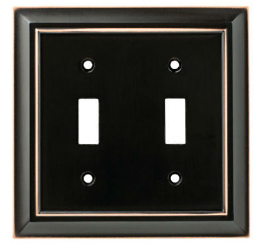 Brainerd® W10085-VBC-U Architectural 2-Gang Toggle Wall Plate, Bronze with Copper