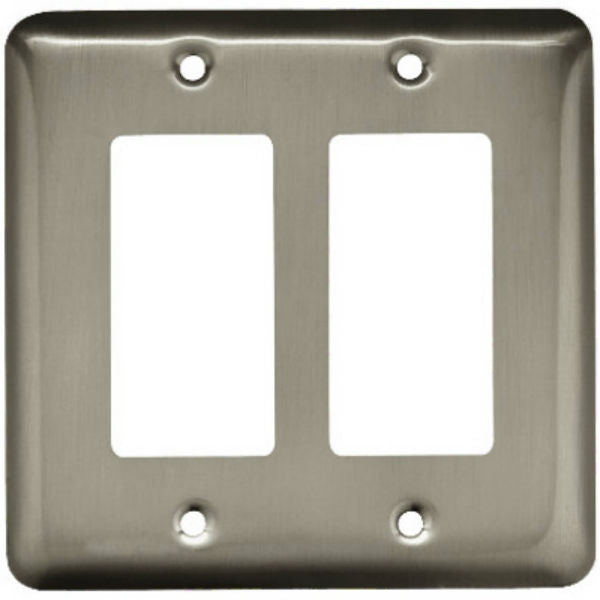 Brainerd® W10252-SN-U Round 2-Gang Decorator Rocker/GFI Wall Plate, Satin Nickel