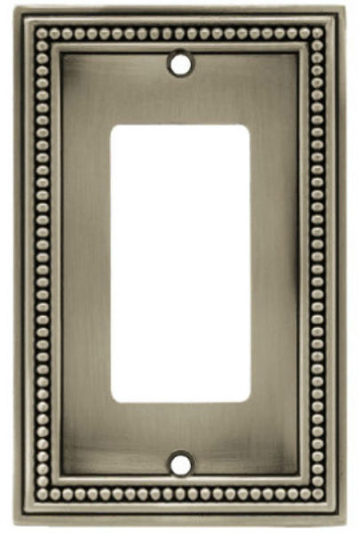 Brainerd®  W10237BSPU Beaded 1-Gang Decorator Rocker/GFI Wallplate, Satin Pewter