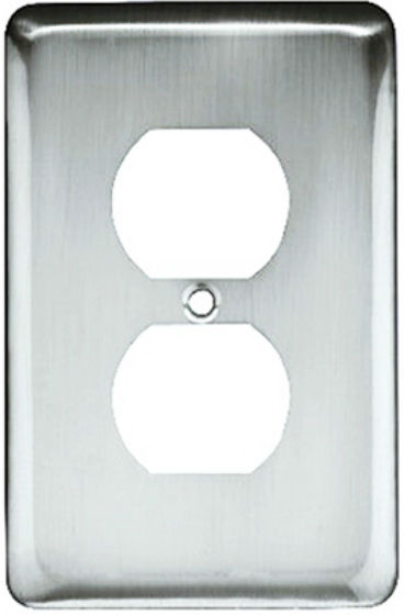 Brainerd® W10249-PC-U Stamped 1-Gang Round Duplex Wall Plate, Polished Chrome