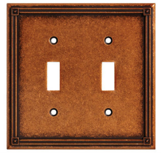 Brainerd® W16045-CPS-U Ruston 2-Gang Toggle Wall Plate, Sponged Copper