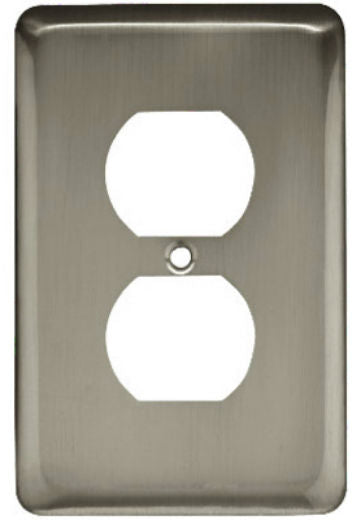 Brainerd® W10249-SN-U Stamped Round Duplex Wall Plate, Satin Nickel, 1 Gang