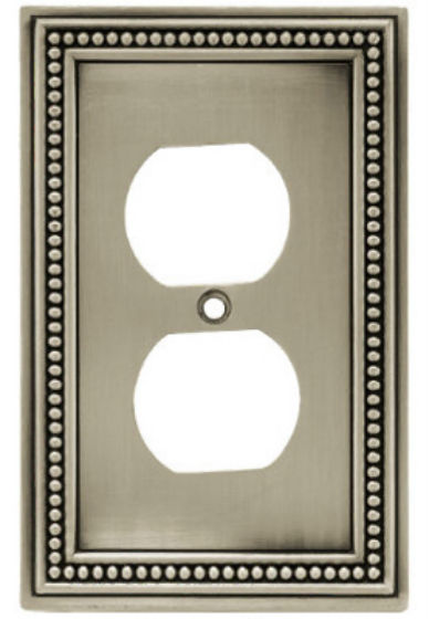 Brainerd® W10103-BSP-U Beaded 1-Gang Duplex Wall Plate, Brushed Satin Pewter