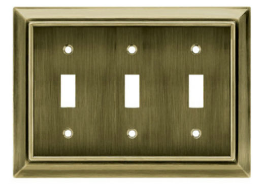 Brainerd® W10599-AB-U Architectural 3-Gang Toggle Wall Plate, Antique Brass