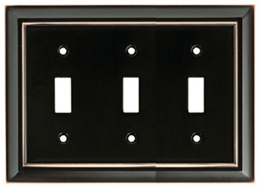 Brainerd® W10599-VBC-U Architectural 3-Gang Toggle Wall Plate, Bronze with Copper